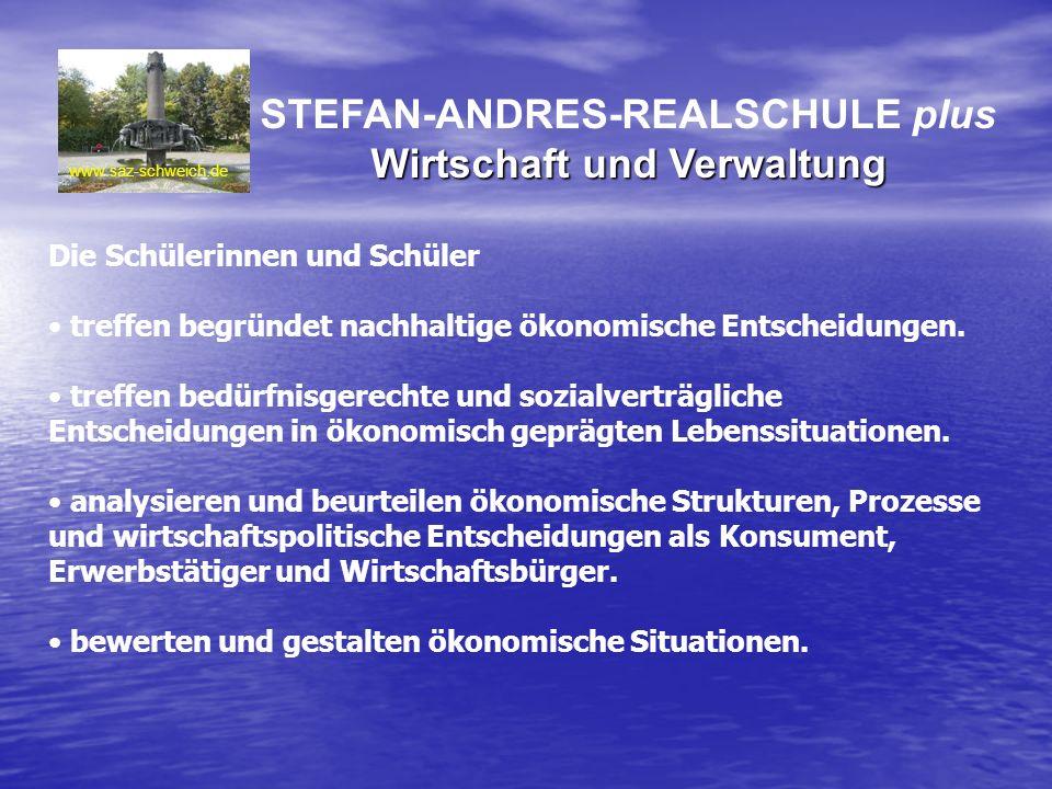 STEFAN-ANDRES-REALSCHULE plus Wirtschaft und Verwaltung www.saz-schweich.de Die Schülerinnen und Schüler treffen begründet nachhaltige ökonomische Ent