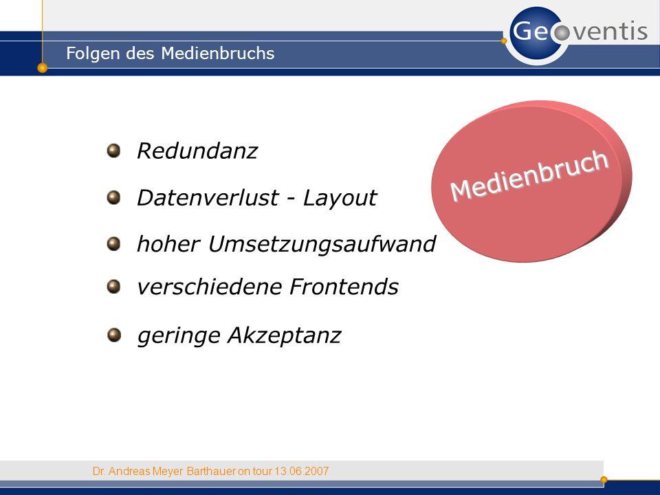 Medienbruch Folgen des Medienbruchs Dr. Andreas Meyer Barthauer on tour 13.06.2007 Redundanz Datenverlust - Layout hoher Umsetzungsaufwand verschieden