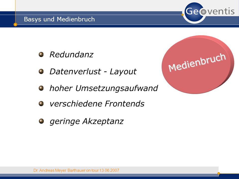 Medienbruch Basys und Medienbruch Dr. Andreas Meyer Barthauer on tour 13.06.2007 Redundanz Datenverlust - Layout hoher Umsetzungsaufwand verschiedene