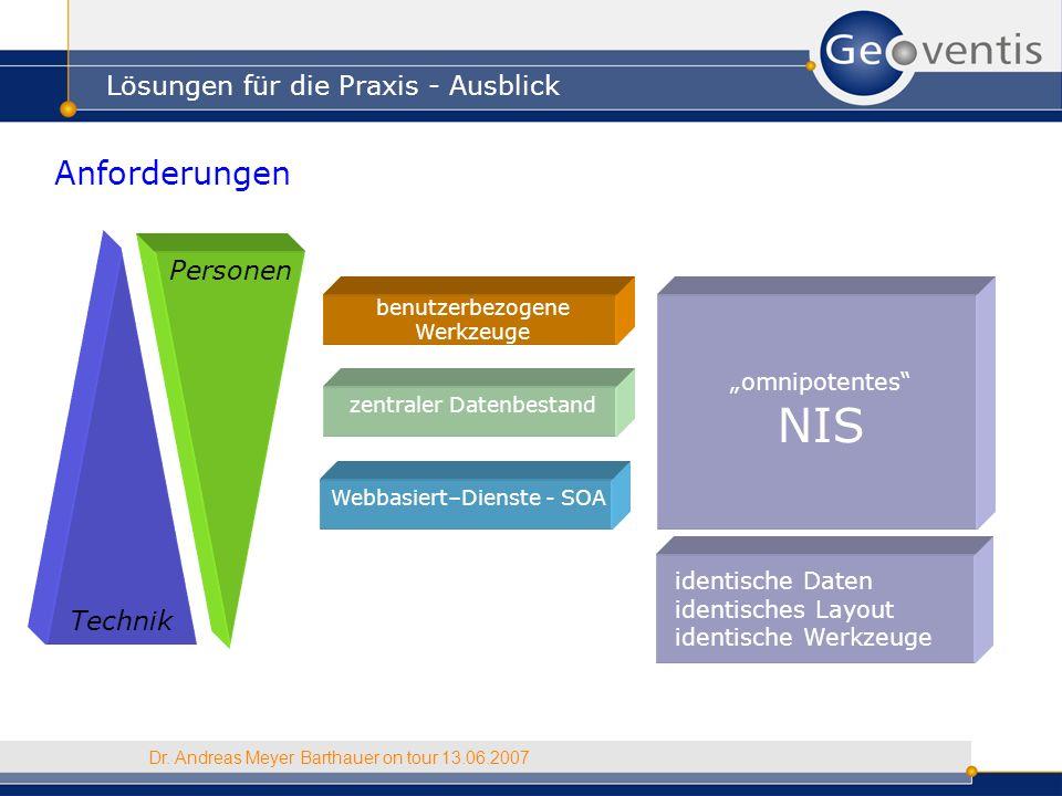 Lösungen für die Praxis - Ausblick Dr. Andreas Meyer Barthauer on tour 13.06.2007 Anforderungen Technik Personen omnipotentes NIS benutzerbezogene Wer