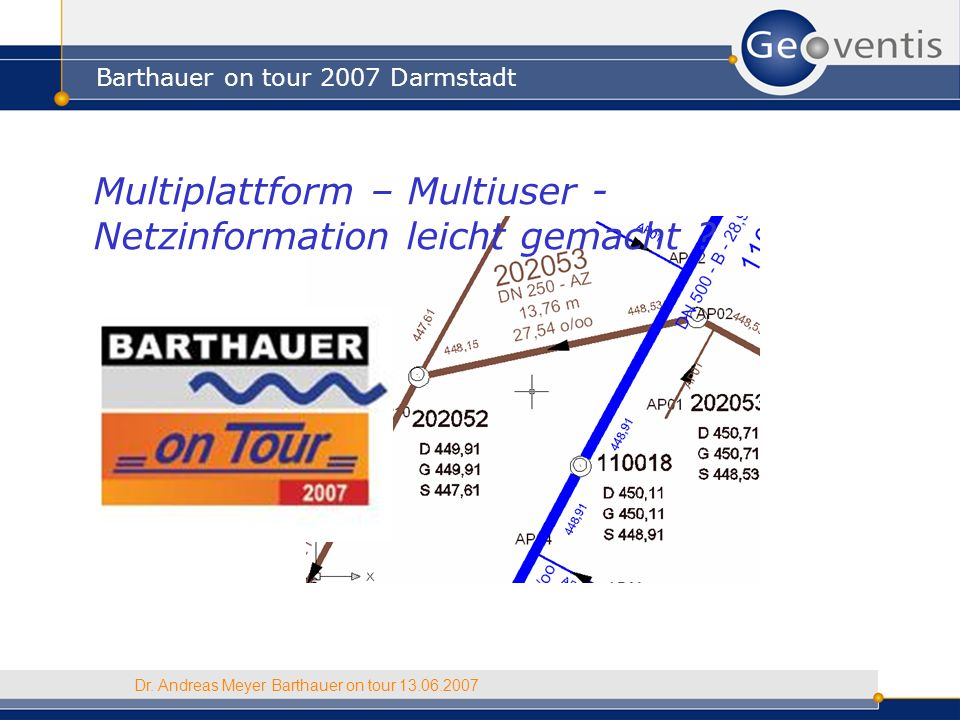 Barthauer on tour 2007 Darmstadt Dr. Andreas Meyer Barthauer on tour 13.06.2007 Multiplattform – Multiuser - Netzinformation leicht gemacht ?