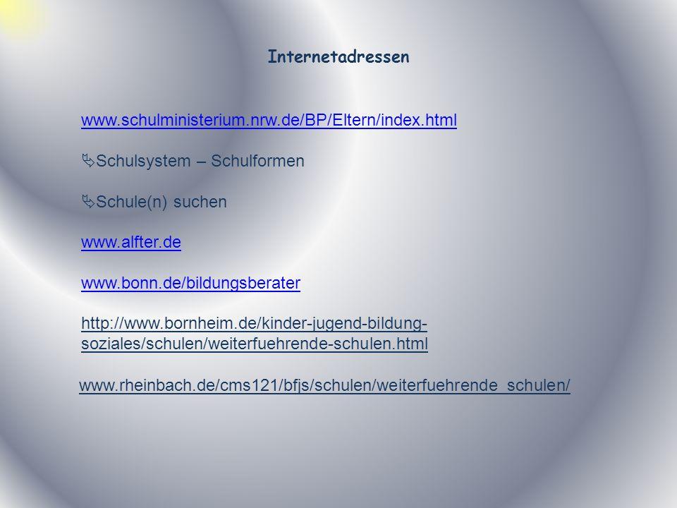 Internetadressen www.schulministerium.nrw.de/BP/Eltern/index.html Schulsystem – Schulformen Schule(n) suchen www.alfter.de www.bonn.de/bildungsberater