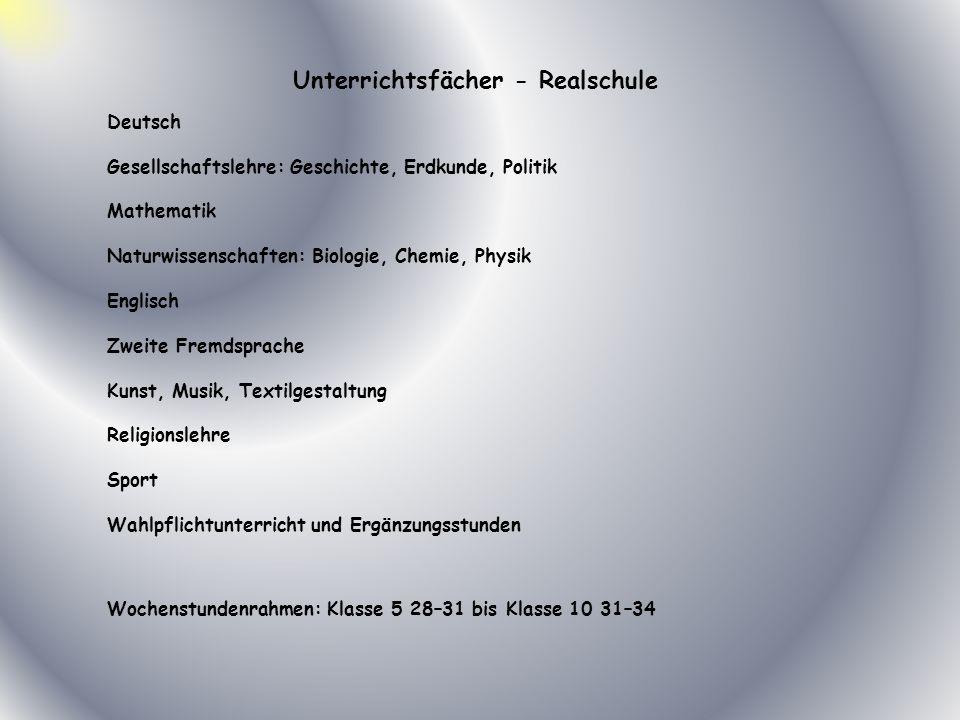Unterrichtsfächer - Realschule Deutsch Gesellschaftslehre: Geschichte, Erdkunde, Politik Mathematik Naturwissenschaften: Biologie, Chemie, Physik Engl