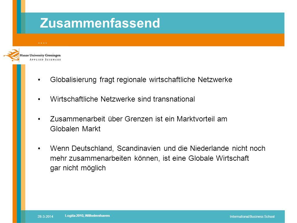 28-3-2014International Business School Globalisierung fragt regionale wirtschaftliche Netzwerke Wirtschaftliche Netzwerke sind transnational Zusammenarbeit über Grenzen ist ein Marktvorteil am Globalen Markt Wenn Deutschland, Scandinavien und die Niederlande nicht noch mehr zusammenarbeiten können, ist eine Globale Wirtschaft gar nicht möglich Zusammenfassend ….