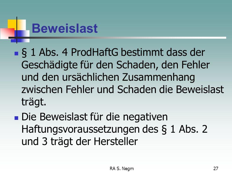 RA S.Negm27 Beweislast § 1 Abs.