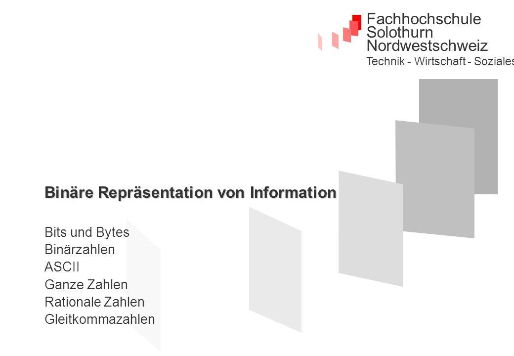 Fachhochschule Solothurn Nordwestschweiz Technik - Wirtschaft - Soziales Binäre Repräsentation von Information Bits und Bytes Binärzahlen ASCII Ganze Zahlen Rationale Zahlen Gleitkommazahlen