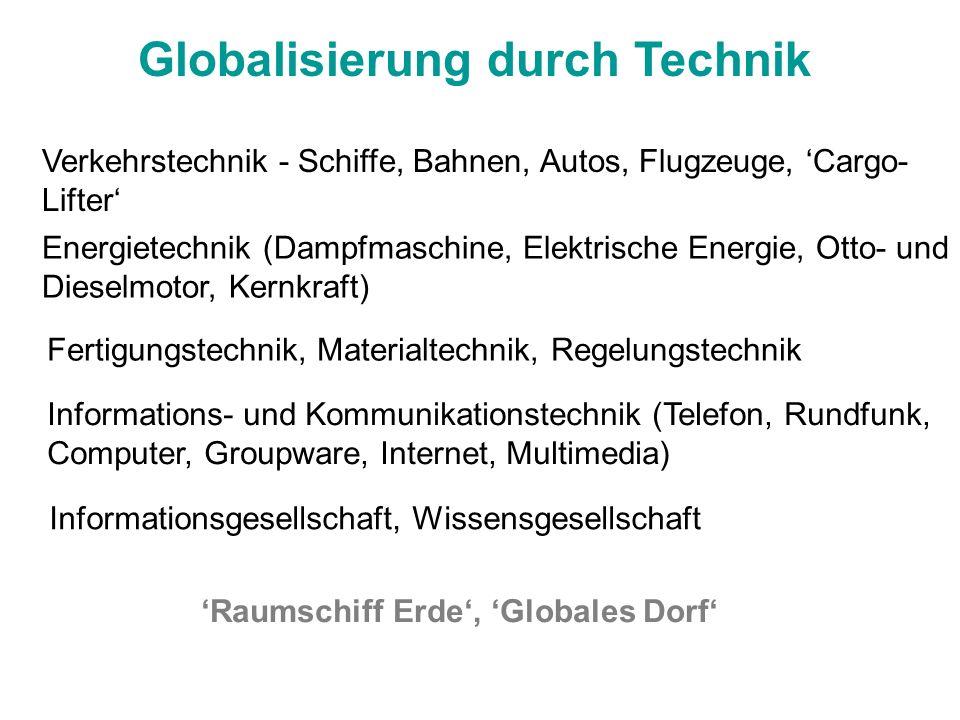 Globalisierung durch Technik Verkehrstechnik - Schiffe, Bahnen, Autos, Flugzeuge, Cargo- Lifter Energietechnik (Dampfmaschine, Elektrische Energie, Ot