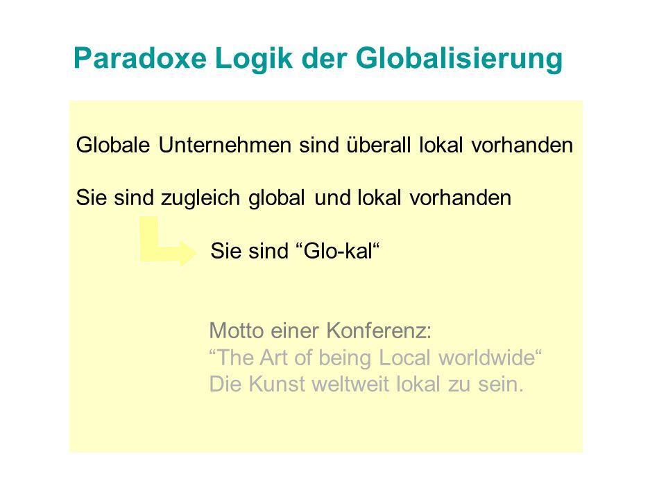 Globale Unternehmen sind überall lokal vorhanden Sie sind zugleich global und lokal vorhanden Sie sind Glo-kal Motto einer Konferenz: The Art of being