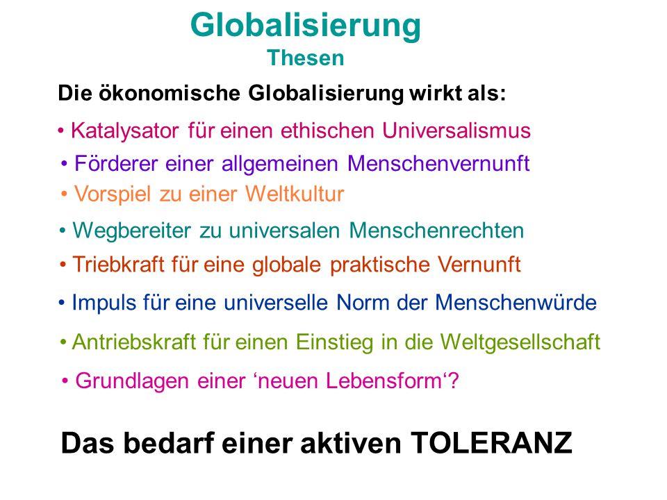 Globalisierung Thesen Die ökonomische Globalisierung wirkt als: Katalysator für einen ethischen Universalismus Förderer einer allgemeinen Menschenvern