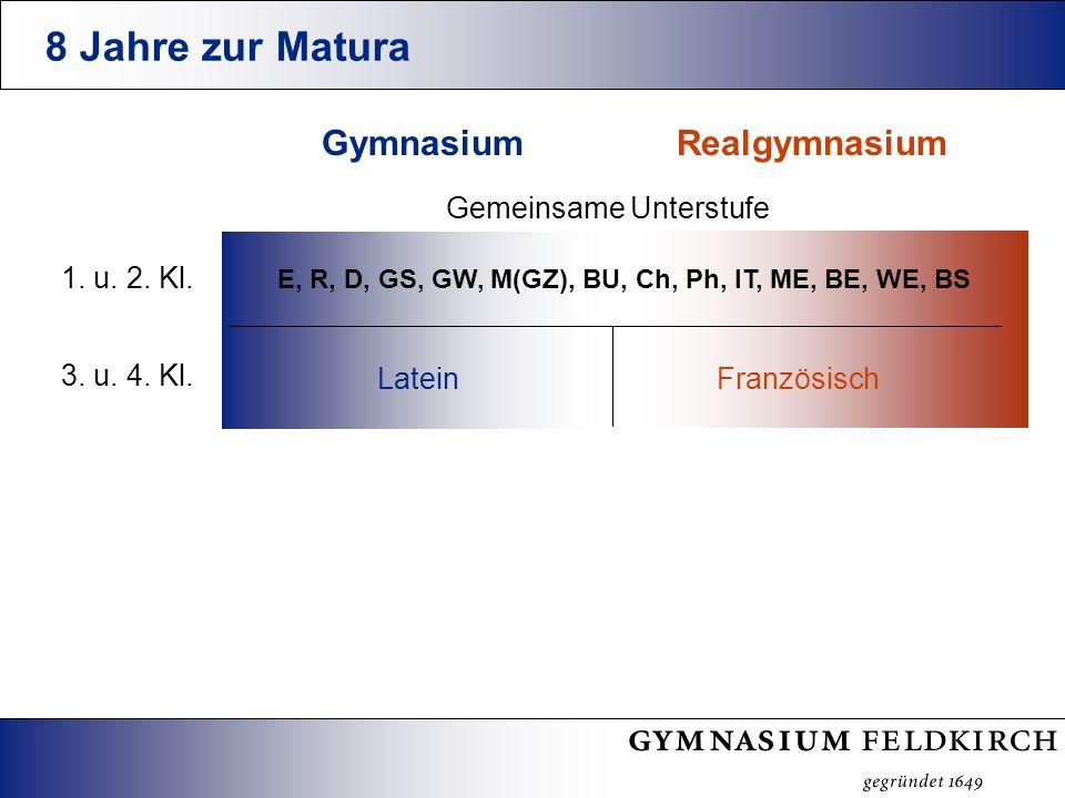 8 Jahre zur Matura RealgymnasiumGymnasium Gemeinsame Unterstufe E, R, D, GS, GW, M(GZ), BU, Ch, Ph, IT, ME, BE, WE, BS FranzösischLatein 1.