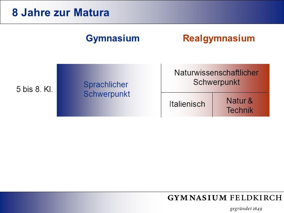 8 Jahre zur Matura Realgymnasium Naturwissenschaftlicher Schwerpunkt Italienisch Natur & Technik Gymnasium 5 bis 8.