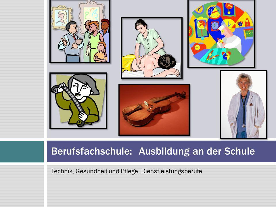 Technik, Gesundheit und Pflege, Dienstleistungsberufe Berufsfachschule: Ausbildung an der Schule