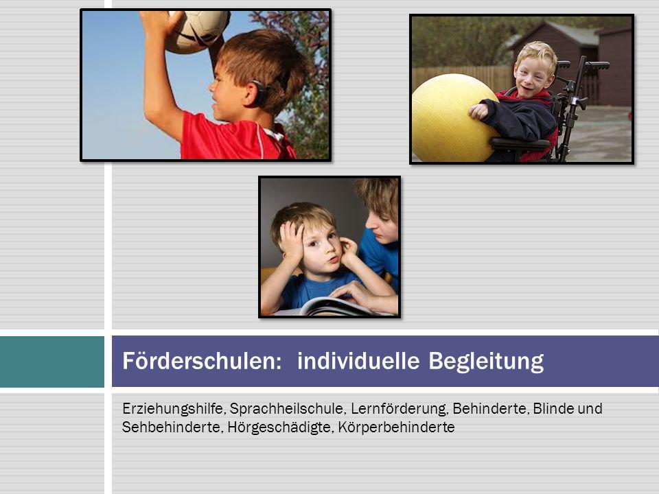 Erziehungshilfe, Sprachheilschule, Lernförderung, Behinderte, Blinde und Sehbehinderte, Hörgeschädigte, Körperbehinderte Förderschulen: individuelle B