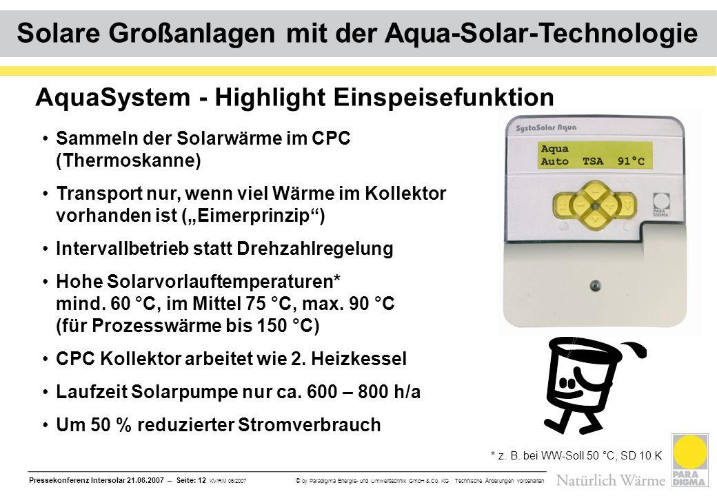 Pressekonferenz Intersolar 21.06.2007 – Seite: 12 KV/RM 06/2007 © by Paradigma Energie- und Umwelttechnik GmbH & Co. KG Technische Änderungen vorbehal
