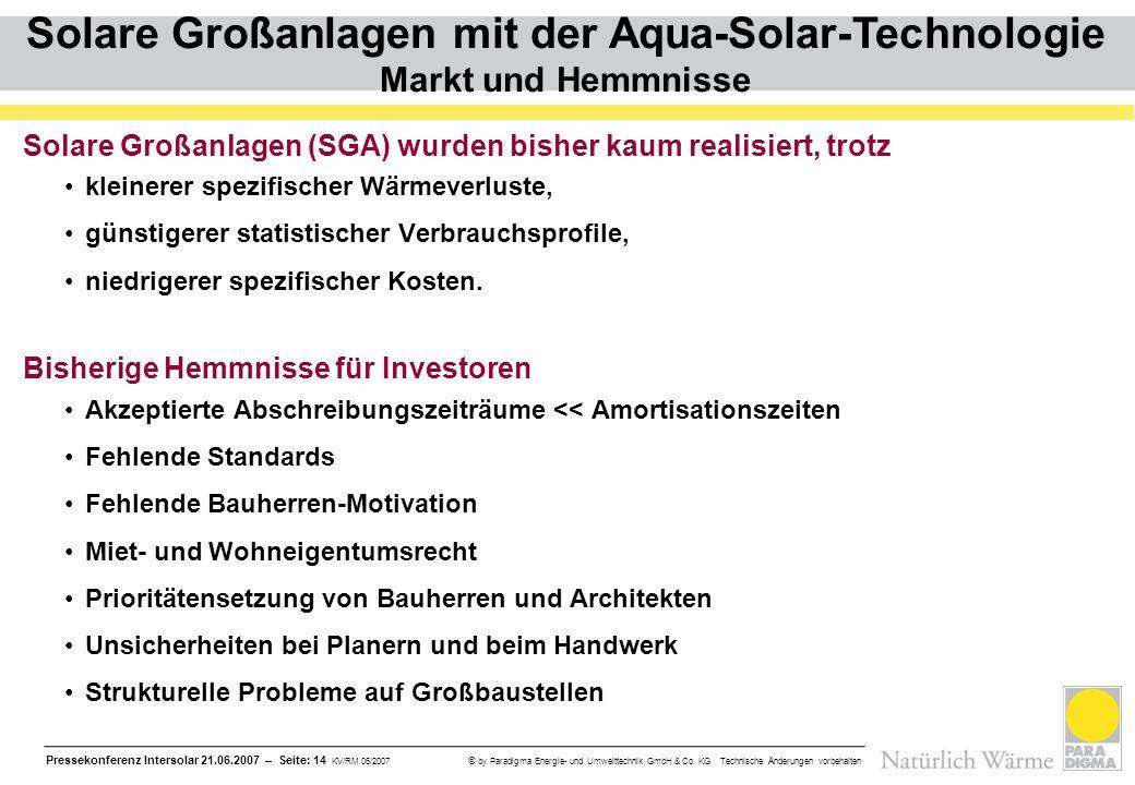 Pressekonferenz Intersolar 21.06.2007 – Seite: 14 KV/RM 06/2007 © by Paradigma Energie- und Umwelttechnik GmbH & Co. KG Technische Änderungen vorbehal