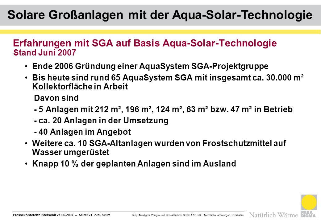Pressekonferenz Intersolar 21.06.2007 – Seite: 21 KV/RM 06/2007 © by Paradigma Energie- und Umwelttechnik GmbH & Co. KG Technische Änderungen vorbehal