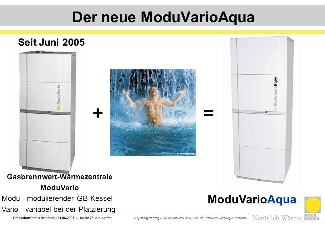 Pressekonferenz Intersolar 21.06.2007 – Seite: 25 KV/RM 06/2007 © by Paradigma Energie- und Umwelttechnik GmbH & Co. KG Technische Änderungen vorbehal