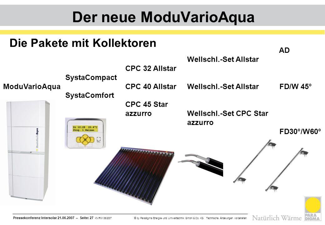 Pressekonferenz Intersolar 21.06.2007 – Seite: 27 KV/RM 06/2007 © by Paradigma Energie- und Umwelttechnik GmbH & Co. KG Technische Änderungen vorbehal
