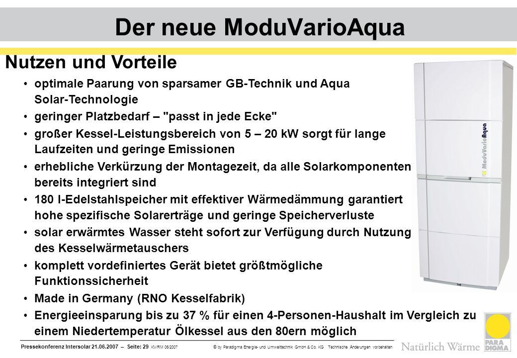 Pressekonferenz Intersolar 21.06.2007 – Seite: 29 KV/RM 06/2007 © by Paradigma Energie- und Umwelttechnik GmbH & Co. KG Technische Änderungen vorbehal