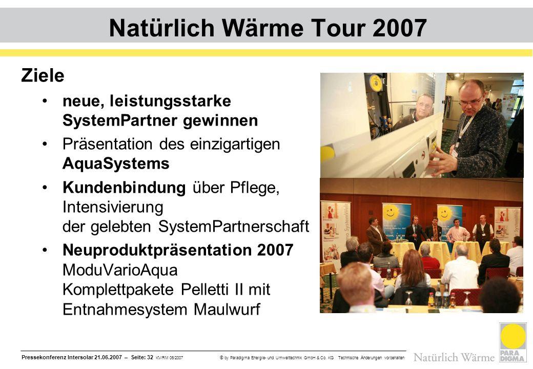 Pressekonferenz Intersolar 21.06.2007 – Seite: 32 KV/RM 06/2007 © by Paradigma Energie- und Umwelttechnik GmbH & Co. KG Technische Änderungen vorbehal