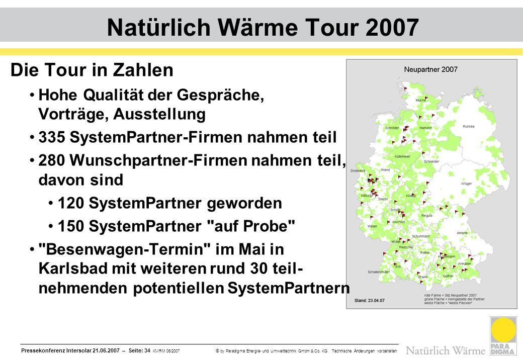 Pressekonferenz Intersolar 21.06.2007 – Seite: 34 KV/RM 06/2007 © by Paradigma Energie- und Umwelttechnik GmbH & Co. KG Technische Änderungen vorbehal