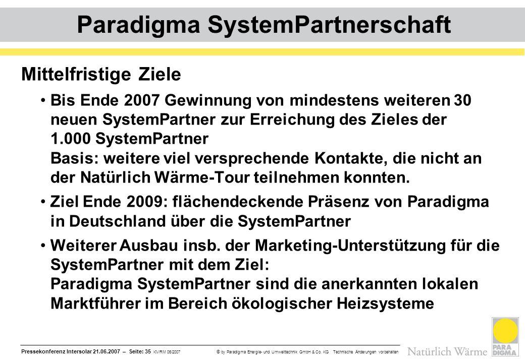 Pressekonferenz Intersolar 21.06.2007 – Seite: 35 KV/RM 06/2007 © by Paradigma Energie- und Umwelttechnik GmbH & Co. KG Technische Änderungen vorbehal