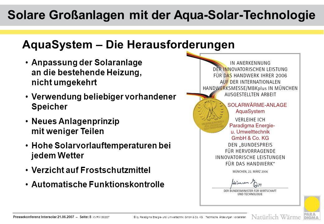 Pressekonferenz Intersolar 21.06.2007 – Seite: 8 KV/RM 06/2007 © by Paradigma Energie- und Umwelttechnik GmbH & Co. KG Technische Änderungen vorbehalt