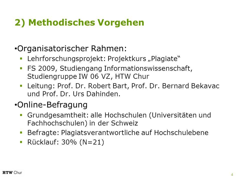 2) Methodisches Vorgehen Organisatorischer Rahmen: Lehrforschungsprojekt: Projektkurs Plagiate FS 2009, Studiengang Informationswissenschaft, Studieng