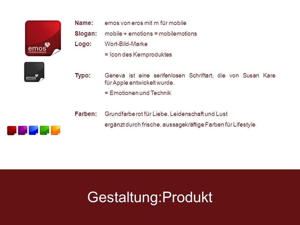 Gestaltung:Produkt Name:emos von eros mit m für mobile Slogan:mobile + emotions = mobilemotions Logo:Wort-Bild-Marke = Icon des Kernproduktes Typo:Geneva ist eine serifenlosen Schriftart, die von Susan Kare für Apple entwickelt wurde.