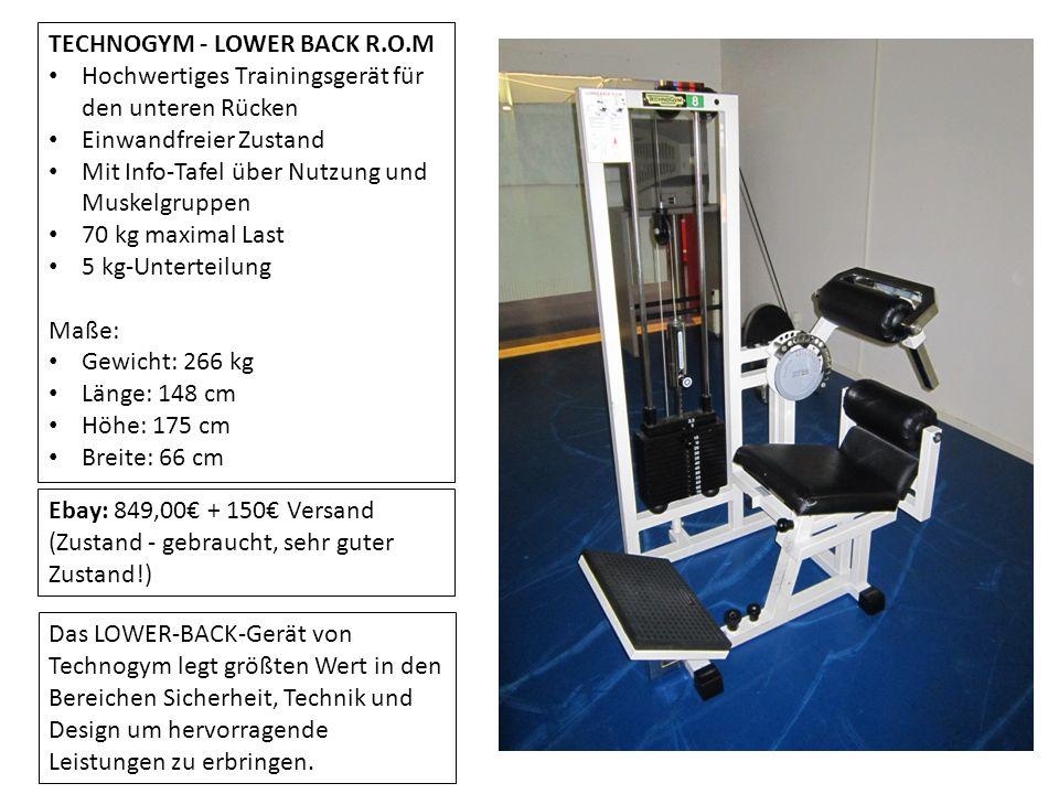 TECHNOGYM - LOWER BACK R.O.M Hochwertiges Trainingsgerät für den unteren Rücken Einwandfreier Zustand Mit Info-Tafel über Nutzung und Muskelgruppen 70