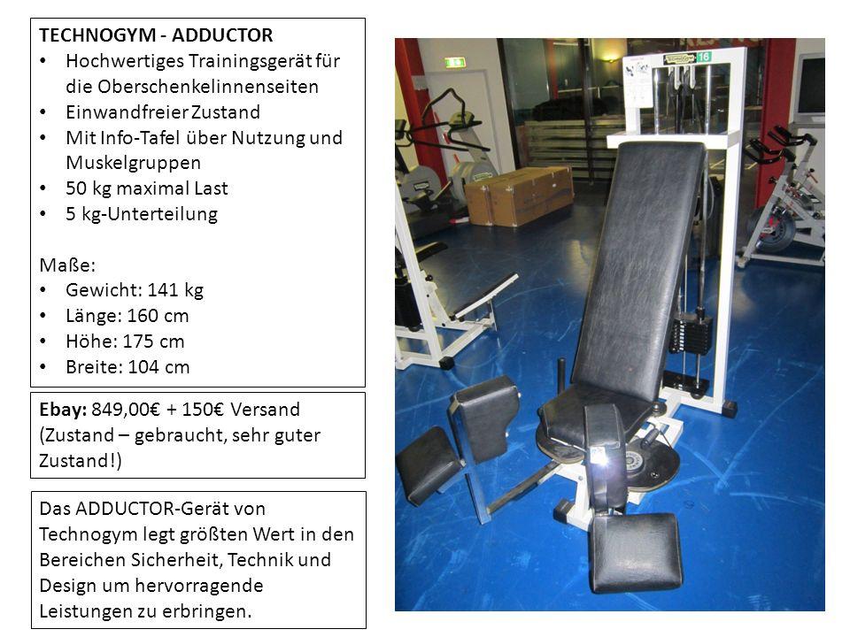 TECHNOGYM - ADDUCTOR Hochwertiges Trainingsgerät für die Oberschenkelinnenseiten Einwandfreier Zustand Mit Info-Tafel über Nutzung und Muskelgruppen 5