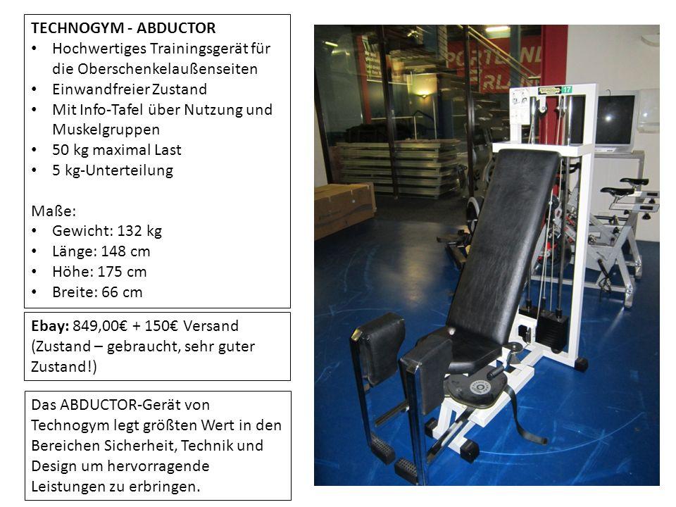TECHNOGYM - ABDUCTOR Hochwertiges Trainingsgerät für die Oberschenkelaußenseiten Einwandfreier Zustand Mit Info-Tafel über Nutzung und Muskelgruppen 5