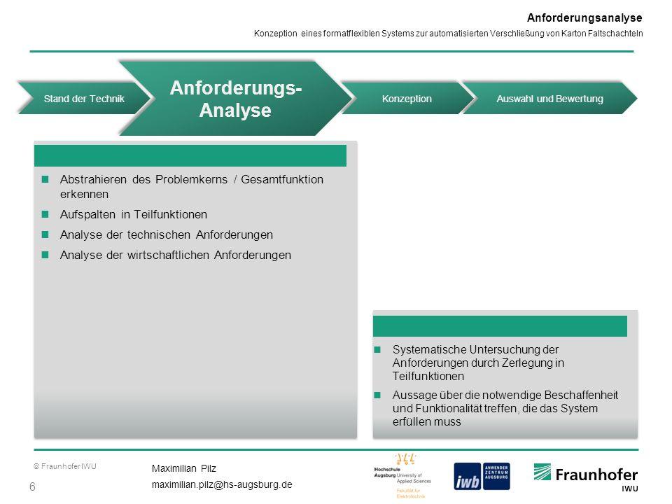 © Fraunhofer IWU 6 Maximilian Pilz maximilian.pilz@hs-augsburg.de Konzeption eines formatflexiblen Systems zur automatisierten Verschließung von Karto