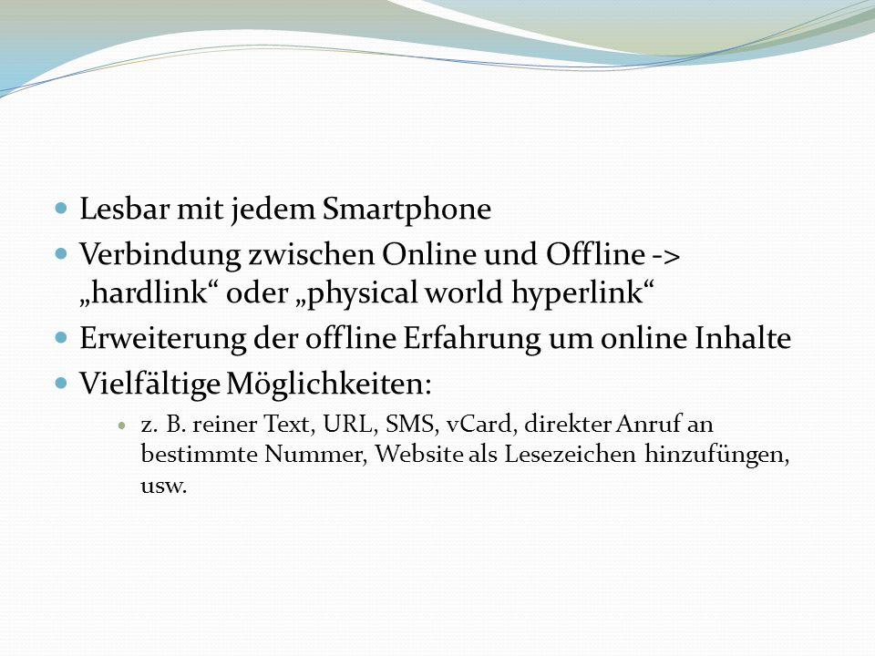 Lesbar mit jedem Smartphone Verbindung zwischen Online und Offline -> hardlink oder physical world hyperlink Erweiterung der offline Erfahrung um onli