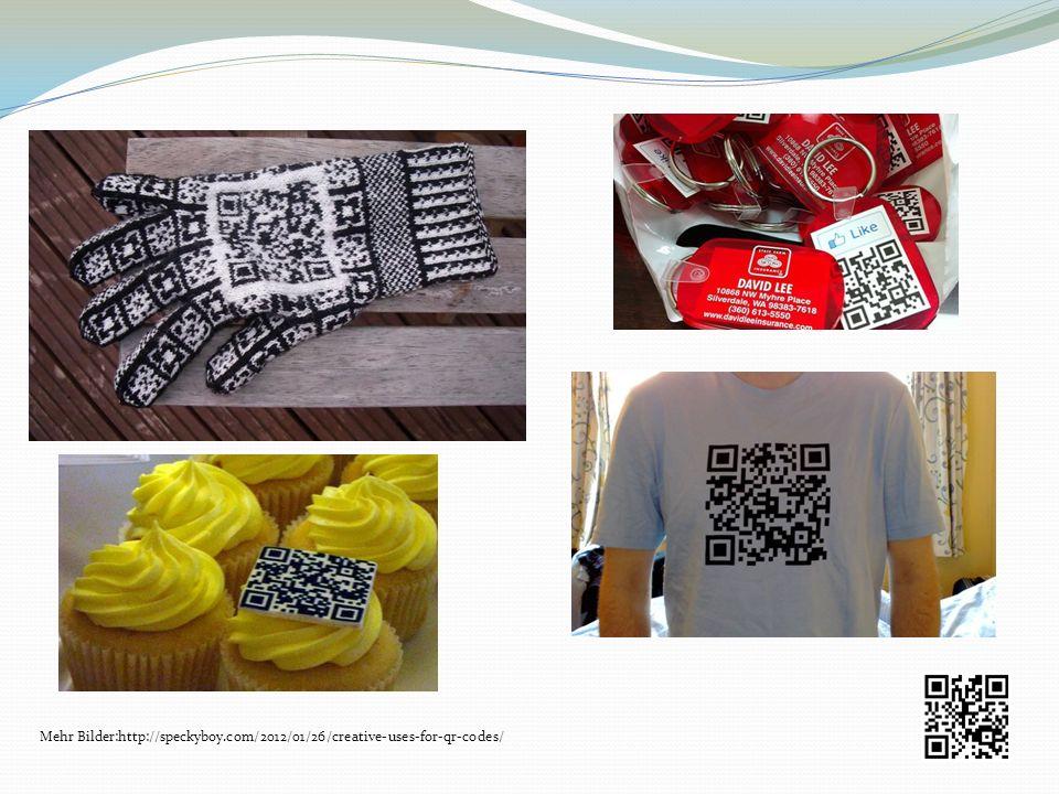 Mehr Bilder:http://speckyboy.com/2012/01/26/creative-uses-for-qr-codes/