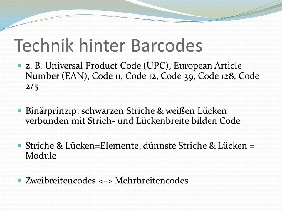 Technik hinter Barcodes z. B. Universal Product Code (UPC), European Article Number (EAN), Code 11, Code 12, Code 39, Code 128, Code 2/5 Binärprinzip;
