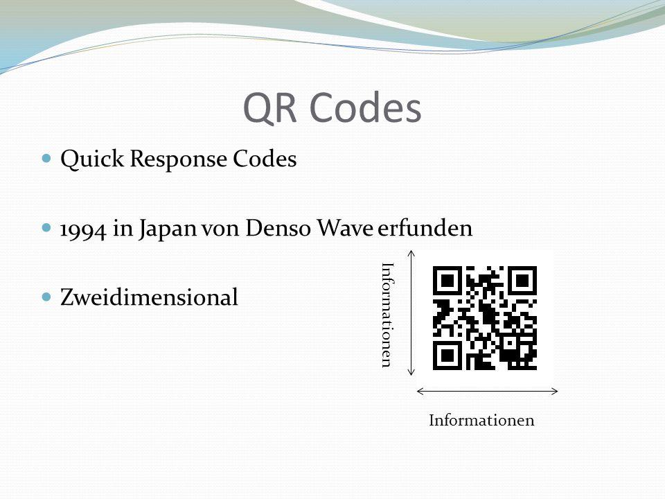 QR Codes Quick Response Codes 1994 in Japan von Denso Wave erfunden Zweidimensional Informationen