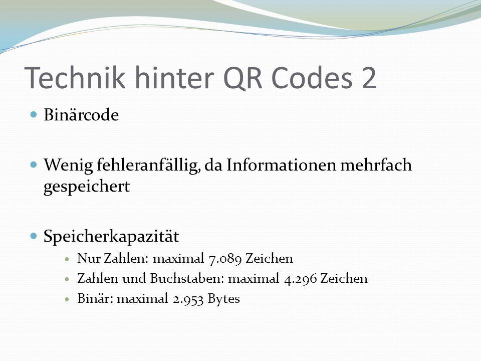 Technik hinter QR Codes 2 Binärcode Wenig fehleranfällig, da Informationen mehrfach gespeichert Speicherkapazität Nur Zahlen: maximal 7.089 Zeichen Za
