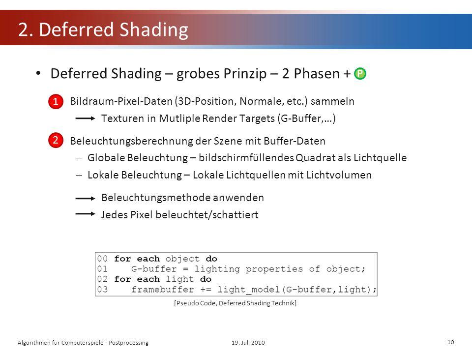 2. Deferred Shading Deferred Shading – grobes Prinzip – 2 Phasen + Bildraum-Pixel-Daten (3D-Position, Normale, etc.) sammeln Texturen in Mutliple Rend