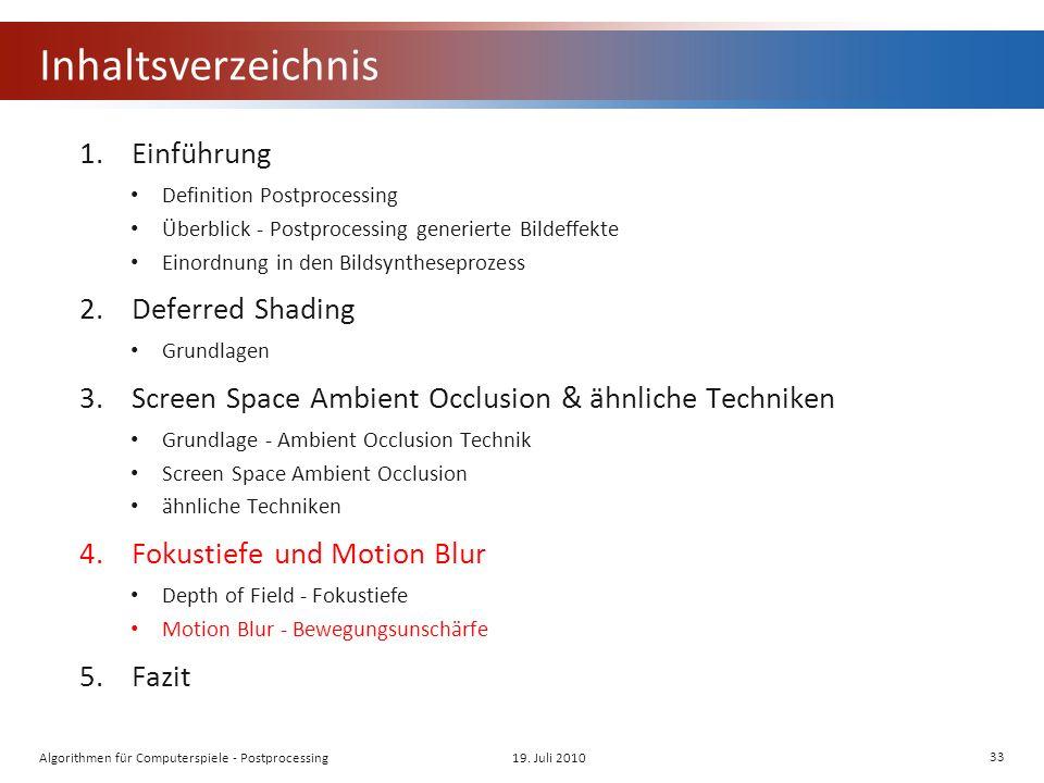 Inhaltsverzeichnis 1.Einführung Definition Postprocessing Überblick - Postprocessing generierte Bildeffekte Einordnung in den Bildsyntheseprozess 2.Deferred Shading Grundlagen 3.Screen Space Ambient Occlusion & ähnliche Techniken Grundlage - Ambient Occlusion Technik Screen Space Ambient Occlusion ähnliche Techniken 4.Fokustiefe und Motion Blur Depth of Field - Fokustiefe Motion Blur - Bewegungsunschärfe 5.Fazit 19.