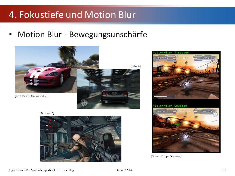 4. Fokustiefe und Motion Blur Motion Blur - Bewegungsunschärfe 19.