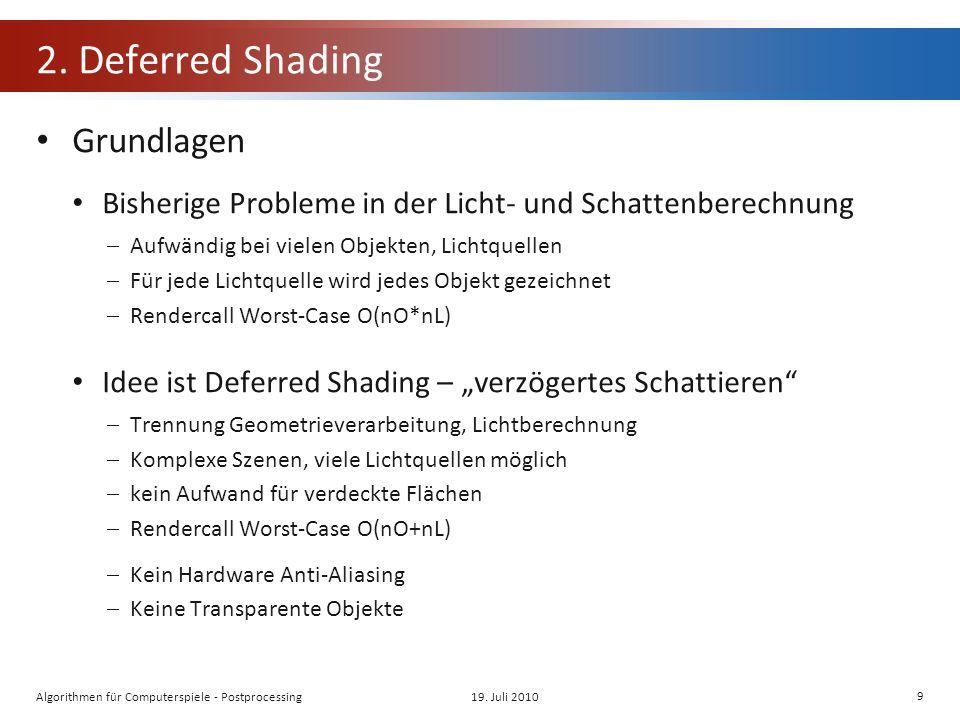 2. Deferred Shading Grundlagen Bisherige Probleme in der Licht- und Schattenberechnung Aufwändig bei vielen Objekten, Lichtquellen Für jede Lichtquell