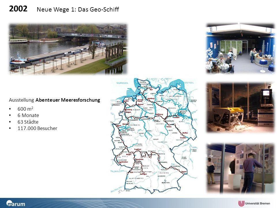 2002 Neue Wege 1: Das Geo-Schiff Ausstellung Abenteuer Meeresforschung 600 m 2 6 Monate 63 Städte 117.000 Besucher