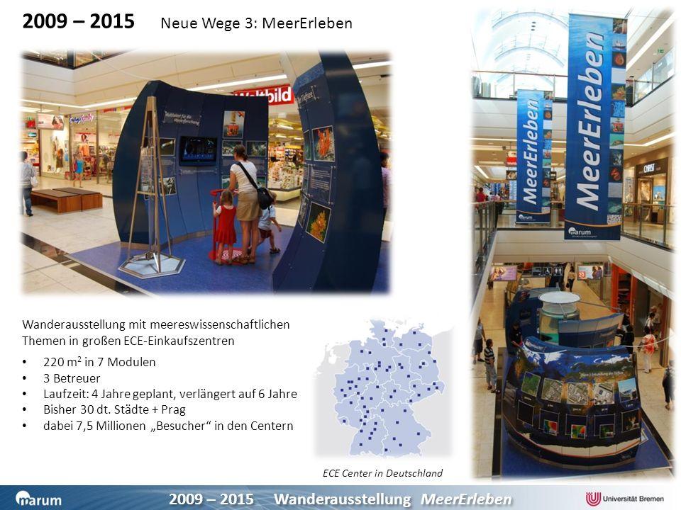 2009 – 2015 Wanderausstellung MeerErleben 2009 – 2015 Neue Wege 3: MeerErleben Wanderausstellung mit meereswissenschaftlichen Themen in großen ECE-Ein