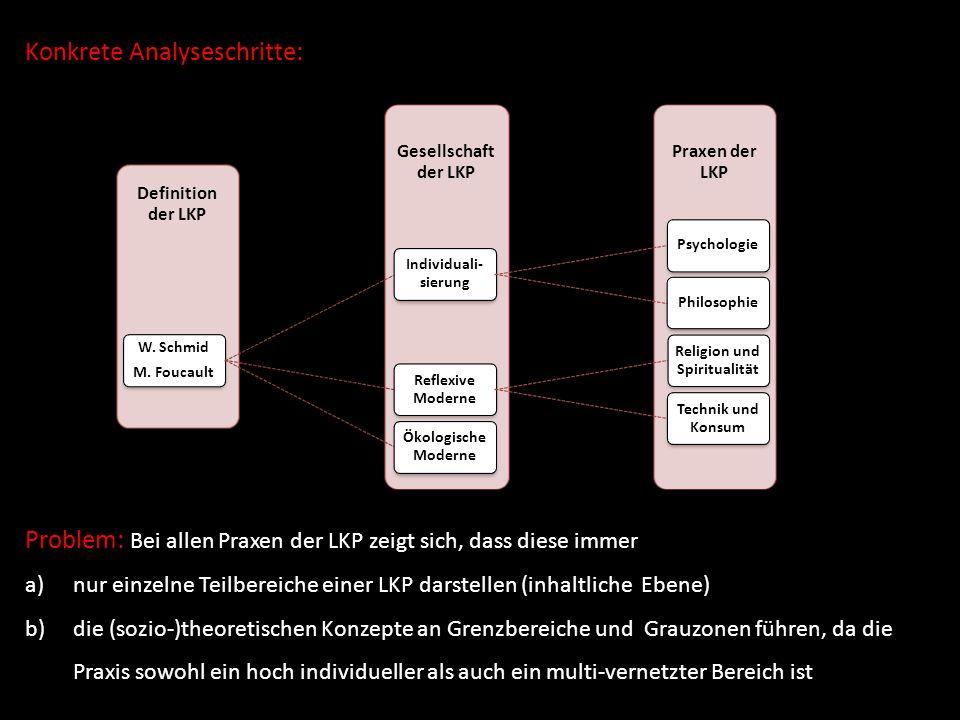 Konkrete Analyseschritte: Praxen der LKP Gesellschaft der LKP Definition der LKP W. Schmid M. Foucault Individuali- sierung PsychologiePhilosophie Ref