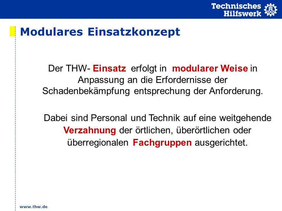 www.thw.de Modulares Einsatzkonzept Dabei sind Personal und Technik auf eine weitgehende Verzahnung der örtlichen, überörtlichen oder überregionalen F