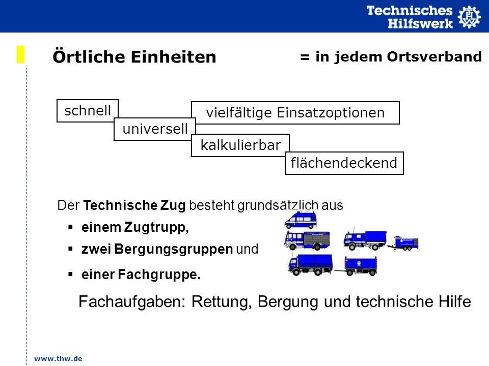 www.thw.de vielfältige Einsatzoptionen Örtliche Einheiten schnell universell kalkulierbar = in jedem Ortsverband flächendeckend Der Technische Zug bes