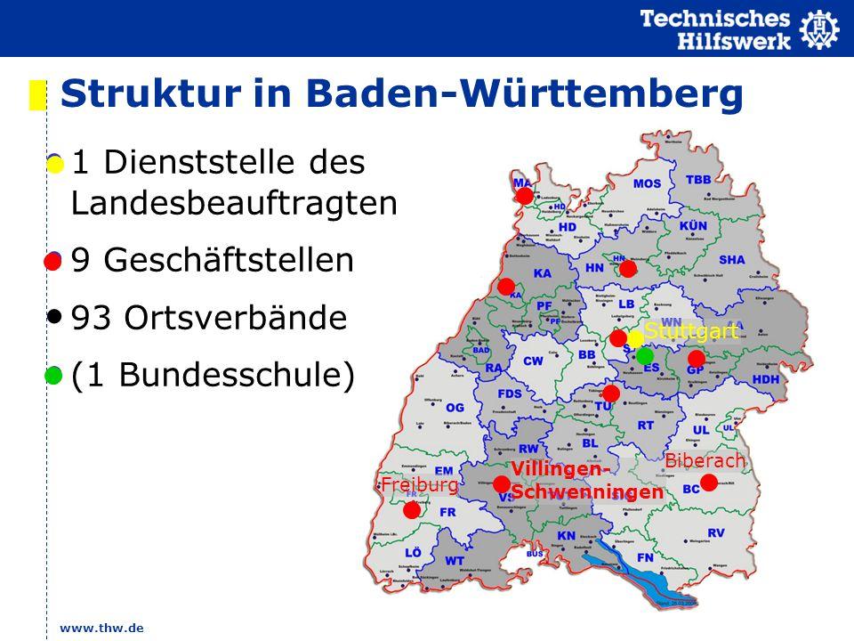 www.thw.de Struktur in Baden-Württemberg 1 Dienststelle des Landesbeauftragten 9 Geschäftstellen 93 Ortsverbände (1 Bundesschule) Stuttgart Villingen-