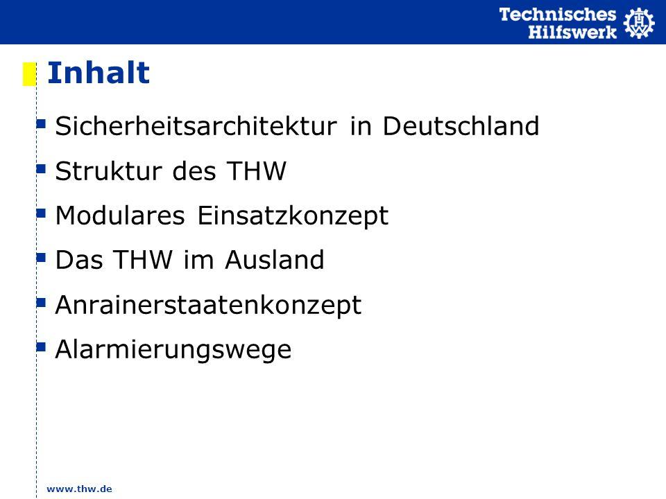 www.thw.de Inhalt Sicherheitsarchitektur in Deutschland Struktur des THW Modulares Einsatzkonzept Das THW im Ausland Anrainerstaatenkonzept Alarmierun