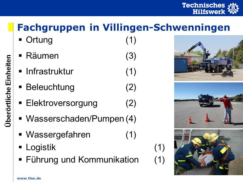 www.thw.de Fachgruppen in Villingen-Schwenningen Ortung (1) Räumen (3) Infrastruktur(1) Beleuchtung(2) Elektroversorgung(2) Wasserschaden/Pumpen(4) Wa